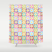 Stitched Flower Patches Shower Curtain by Lisa Marie Robinson