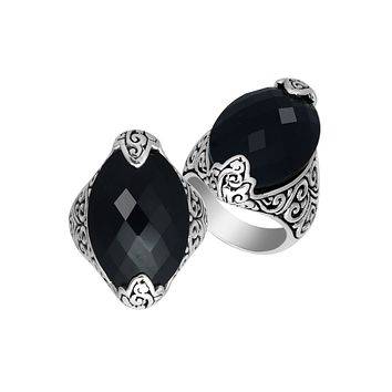 AR-6234-OX-6'' Sterling Silver Ring With Black Onyx