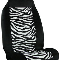 Zebra Stripe White Black Car Seat Cover