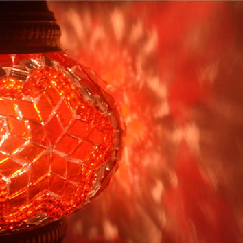 Mosaic Accent Turkish Lamps Floor Lamp Red Bohemian Style