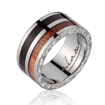 GENUINE MACASSAR EBONY HAWAIIAN KOA WOOD WEDDING BAND RING TITANIUM SCROLL 10MM