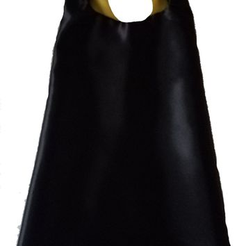 Plain Black and Yellow Reversible Superhero Cape