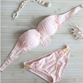 Fashion women Background pink with tassel two piece bikini Shell bikini