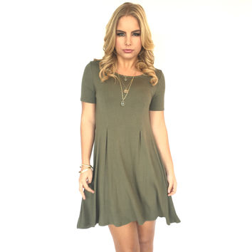 Seams Right Jersey Dress In Mermaid Olive