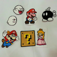 Video Game Patches - iron on, sew on, velcro, magnet, or pin. Nintendo Super Mario, Paper Mario, Boo Ghost, Coin Box.