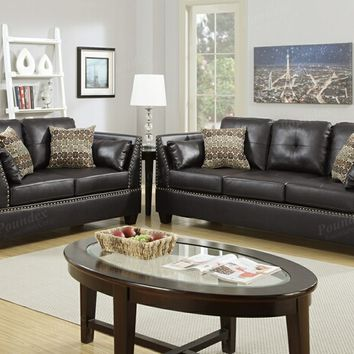Poundex F6915 2 pc collette collection espresso bonded leather upholstered sofa and love seat set with nail head trim