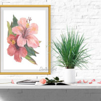 Pink flower wall art Large Watercolor flower art Pink Coral decor Hibiscus fower print Tropical flower printable 5x7 8x10 11x14 16x20 - Edit Listing - Etsy