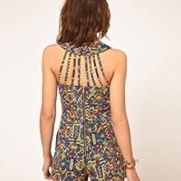 Mex Tex Print Strappy Playsuit at ASOS