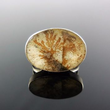 Dendritic Agate Sterling Silver Ring - Size 7
