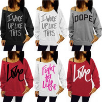 New Women Long Sleeve Hoodie Sweatshirt Sweater Casual Hooded Coat Pullover [9083357578]