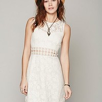 Free People Womens Lace Cutout Shift
