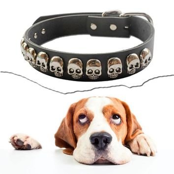 Silvel Skull Studded Accessories Adjustable Soft Genuine Leather Dog Collars For Small Medium Large Dogs Pets