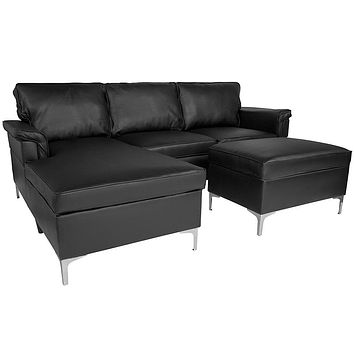 Boylston Upholstered Plush Pillow Back Black Sectional with Left Side Facing Chaise and Ottoman Set