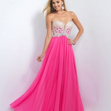 Preorder - Blush Prom 11097 Azalea Pink Strapless Sequin Long Gown 2016 Prom Dresses