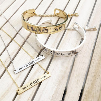 BC Summer Fashion jewelry be brave message stainless steel bracelet and best friends statement necklace pulseras con mensajes