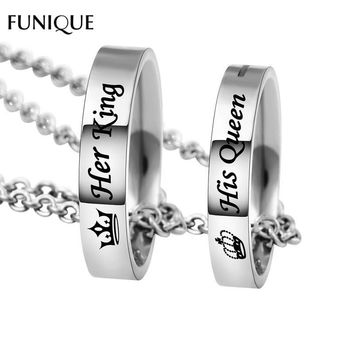 Cool FUNIQUE New Fashion Letter Carved Her King His Queen Hole Pendant Necklace Couple Holes Charm Link Chain Necklace Lover WomenAT_93_12