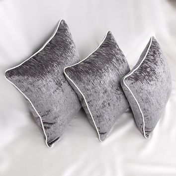 Velvet chenille solid grey seat decorative cover pillow cases for couch