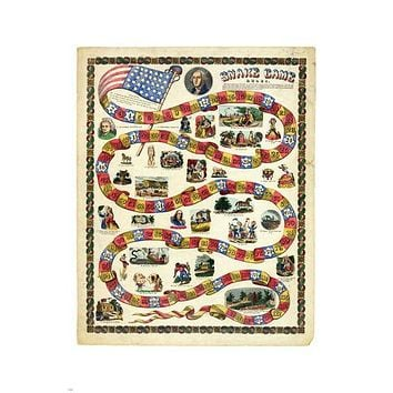 george WASHINGTON snake GAME 1850 24X36 historic EDUCATIONAL presidential