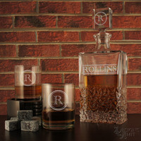 Old School - Design's Deep Carved Crystal Decanter with Design & OPTIONAL Monogrammed Old Fashioned Lowballs and Engraved Whiskey Stones