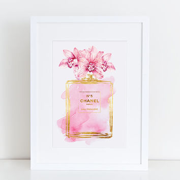 Chanel No5 print 8.5x11 pink Orchid water color- with gold effect Digital file Instant download Coco no5 Chanel poster Chanel Art  Printable