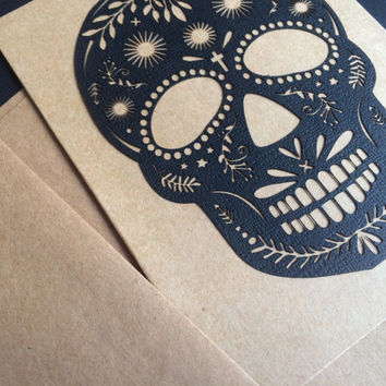 Blank card Halloween greeting card Sugar scull cards - intricate Day of the Dead sculls classy Halloween cards cut mexican Art black and who