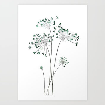 wild carrot watercolor Art Print by Color and Color