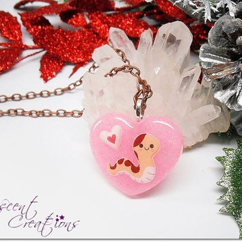Happy snake charm necklace, glittery soft pink resin heart pendant, cartoon reptile charm on copper coated chain necklace, kawaii necklace
