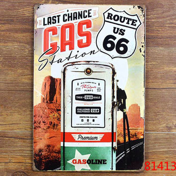 Metal Tin signs Vintage bar home coffee wall art decor Route 66 license plate Retro poster 20*30 CM Free shipping