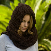 Hooded Scarf, Chocolate Brown Crochet Hood