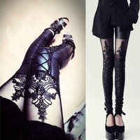 Sexy Women PU Leather Splicing Embroidery Hollow Lace Leggings Pantyhose  A_L (Color: Black) = 1658512004