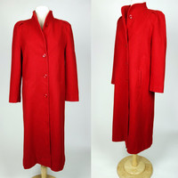 1950s red wool coat, Long Beau Brem button up winter coat, duster trench coat w/ big collar
