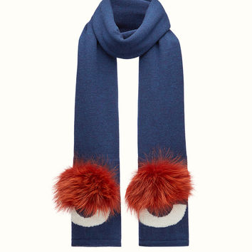 in blue wool and fur - SCARF | Fendi | Fendi Online Store