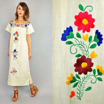 MEXICAN EMBROIDERED vtg 70s hippie ethnic bohemian OAXACAN maxi dress, extra small-large