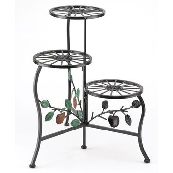 Flower Plant Stand-Red Apple 3 Tier Wrought Iron