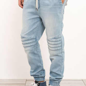 Simple River Island Light Blue Quilted Pocket Joggers In Blue  Lyst