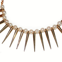 Gold Spiked Pearl Statement Necklace