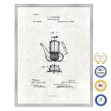 1889 Coffee or Tea Pot Antique Patent Artwork Silver Framed Canvas Print Home Office Decor Great for Coffee Lover Cafe Tea Shop
