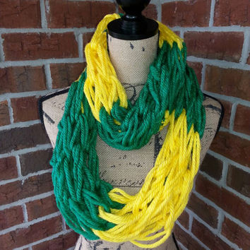 Soft and warm Green and Yellow Arm-Knitted Infinity scarf- Bulky Scarf - Green and Gold Team Spirit Scarf - Infinity scarf- infinity cowl