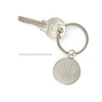 Monogrammed Round Silver Key Ring