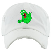 Slime White Distressed Dad Hat