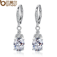 New Authentic Platinum Plated  White & Blue Crystal Anti-allergic Environmentally Fashion Drop Earring YIE096