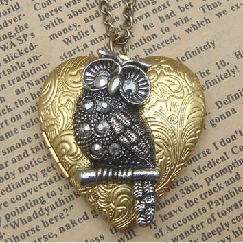 Steampunk  Owl  on Heart Locket Necklace Vintage by sallydesign