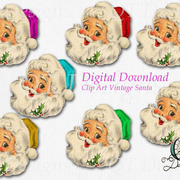 Christmas Santa Graphic Design Pack | 7 png images with transparent background, high res 300 dpi, Santa Head, Vintage Christmas, Clip Art