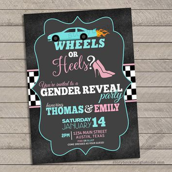Racecar Wheels or Heels Gender Reveal Invitations