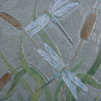 Relief carved dragonflies and cattails on Slate Stone Tile Acrylic Painting