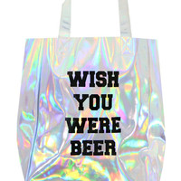 WISH YOU WERE BEER HOLOGRAM TOTE