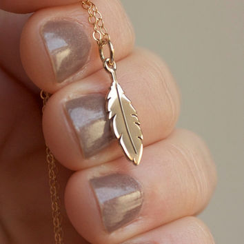 Feather Charm Necklace - Solid Bronze Feather Charm . 14K Gold-Filled Chain . Native American . Tribal . Bohemian