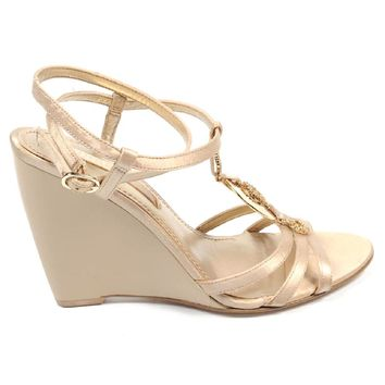 Nine West Womens Ankle Strap Wedge Sandal NWJUVELIE IVORY