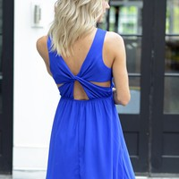 Pretty Royal Blue Criss-Cross Back Dress - $75.00 | Hand In Pocket Boutique