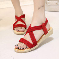 New Summer Fashion Women Sandals Flat Cross-Tied Women Shoes Sexy Simple Ladies Shoes Size 35-41